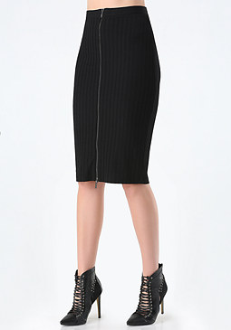 bebe Rib Knit Zip Midi Skirt