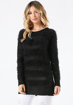 bebe Eyelash & Sequin Sweater