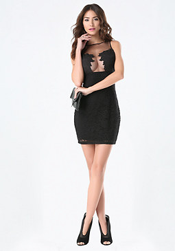 bebe Lace & Applique Dress