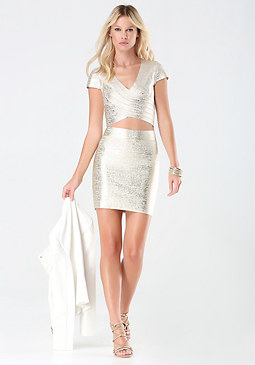 bebe Brushed Foil Bandage Top