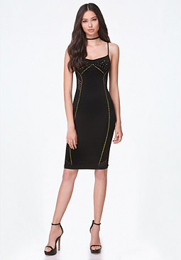 bebe Perforated Bodycon Dress