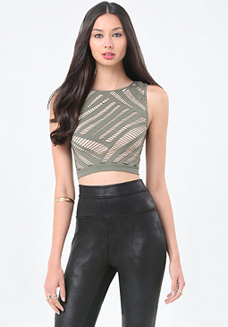 bebe Shelby Slash Crop Top
