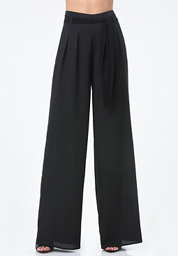 bebe Contrast Sash Pleated Pants
