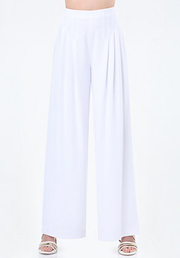bebe Topstitched Pleated Pants