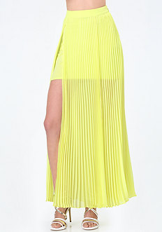 Pleated Slit Maxi Skirt