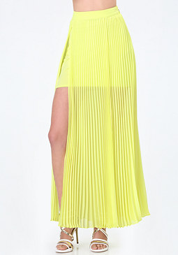 bebe Pleated Slit Maxi Skirt