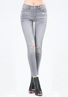 Grey Slit Knee Skinny Jeans