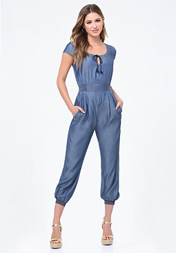 bebe Washed Indigo Jumpsuit