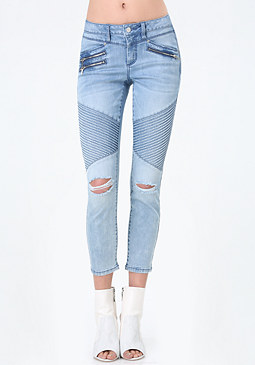 bebe Denim Moto Capri Pants