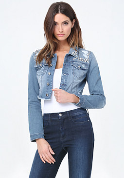 bebe Jeweled Denim Crop Jacket