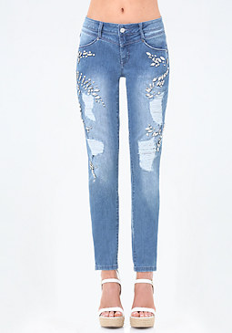 Jeweled Girlfriend Jeans at bebe