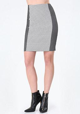 bebe Gingham Block Pencil Skirt