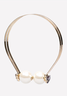 bebe Double Faux Pearl Necklace