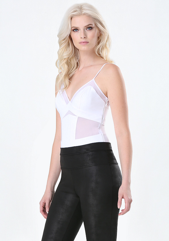 In need of a bodysuit? Express has a large collection of womenâ s black, v-neck & lace-up bodysuits, so you can find the bodysuits that fit your personal style. Add a pair of high waisted shorts, jeans, or a maxi skirt for a cool and casual look, or you could take the formal route and throw on a pencil skirt.