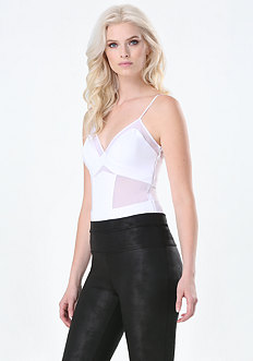 Crepe Paneled Bodysuit
