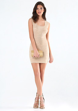 bebe Metallic Sweater Dress