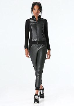 bebe Faux Leather Zip Jacket