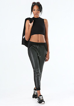 bebe Faux Leather Jogger Pants