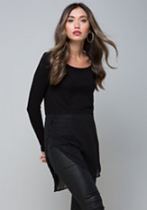 bebe Chiffon Detail Ribbed Tunic
