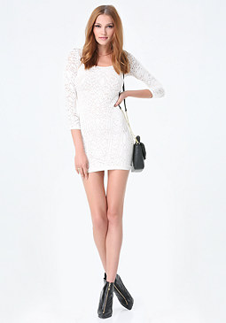 bebe Diamond Lace Bodycon Dress