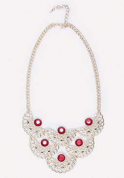 bebe Crystal & Filigree Necklace