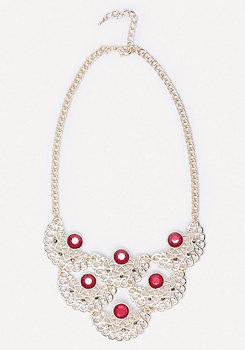 bebe Crystal & Filigree Necklace