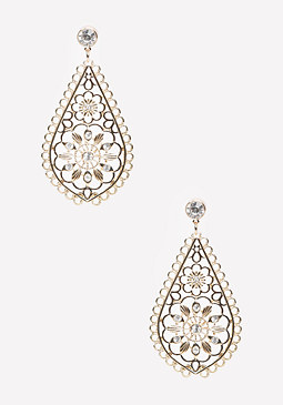 bebe Teardrop Flower Earrings