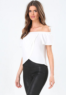 bebe Off Shoulder Wrap Top