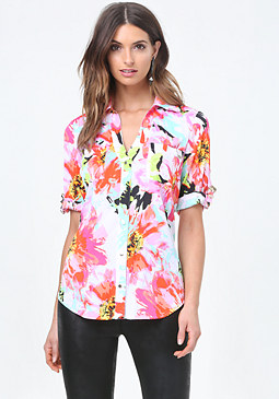 bebe Print Back Zip Shirt