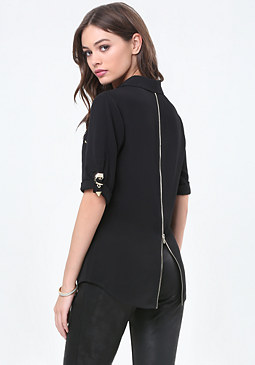 bebe Roll Sleeve Zip Shirt