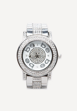 bebe Logo Embellished Link Watch