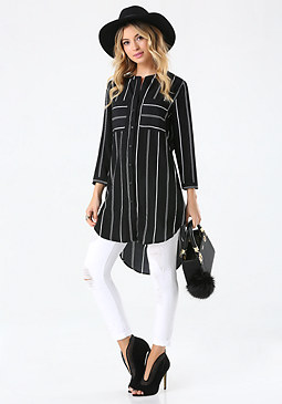 bebe Mix Stripe Long Blouse