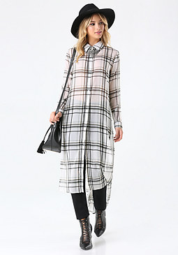 bebe Plaid Long Sleeve Tunic