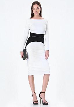 bebe Veronica Ponte Midi Dress