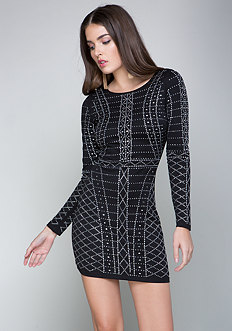 Studded Long Sleeve Dress