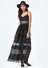 bebe Mix Lace Maxi Dress