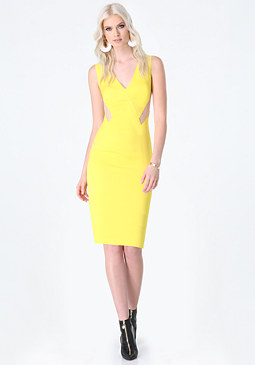 bebe Mesh Cutout V-Neck Dress