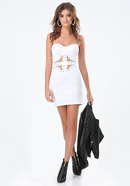 bebe Laced Waist Strapless Dress