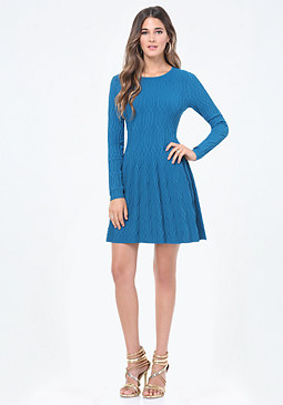 bebe Cable Flared Sweater Dress