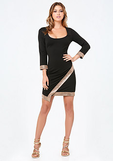 Embellished Wrap Hem Dress