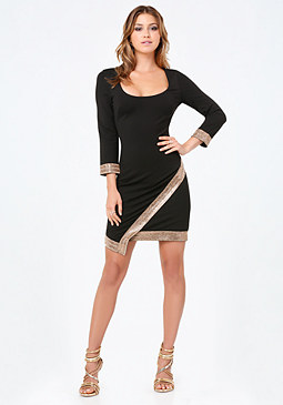 bebe Embellished Wrap Hem Dress