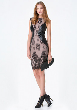 bebe Lace & Faux Leather Dress
