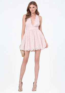 bebe Everett Lace Plunge Dress