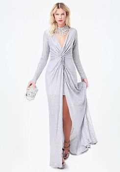 bebe Sequin Twist Front Dress