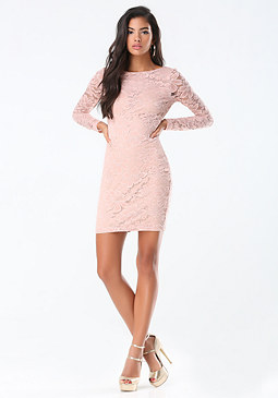 bebe Lace Deep Sweetheart Dress