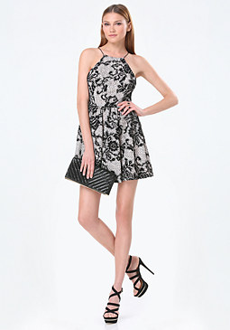 bebe Square Neck Halter Dress