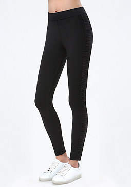 bebe Logo Lace Panel Leggings