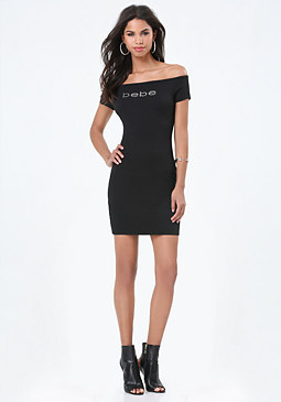 bebe Logo Off Shoulder Dress