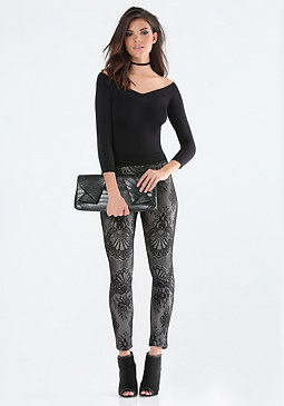 bebe Bonded Lace Leggings