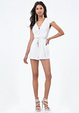 bebe Klarissa Lace Up Romper
